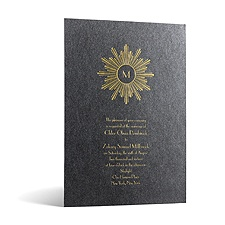 Deco Sunburst in Foil Print - Onyx Shimmer - Invitation