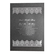 Luminous Lace in Foil Print - Onyx Shimmer - Invitation
