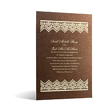 Luminous Lace in Foil Print - Tiger's Eye Shimmer - Invitation