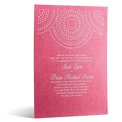 Shining Pearls in Foil Print - Hot Pink Shimmer - Invitation
