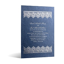 Luminous Lace in Foil Print - Sapphire Shimmer - Invitation