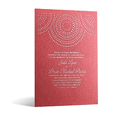Shining Pearls in Foil Print - Garnet Shimmer - Invitation