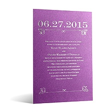Classical Date in Foil Print - Violet Shimmer - Invitation