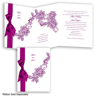 Lace Swirl - Sangria - Invitation