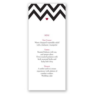 Chevron Sweethearts - Menu Card