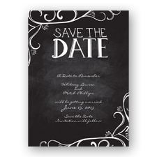 Fanciful Chalkboard - Black - Save the Date