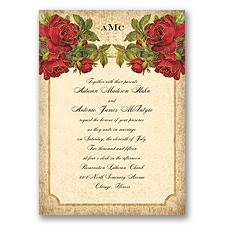 Antique Roses - Apple - Invitation