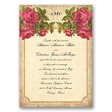 Antique Roses - Begonia - Invitation