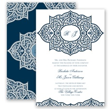 Indian Trellis - Peacock - Invitation