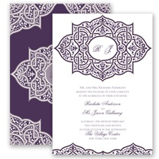 Indian Trellis - Plum - Invitation