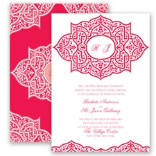 Indian Trellis - Poppy - Invitation