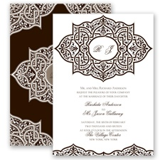 Indian Trellis - Chocolate - Invitation