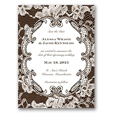 Lace Embrace - Chocolate - Save the Date