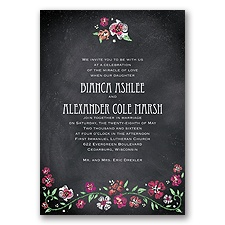 Blooming Chalkboard - Begonia - Invitation