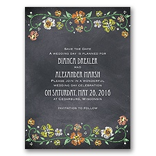 Blooming Chalkboard - Tangerine - Save the Date