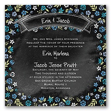 Floral Chalkboard - Cornflower - Invitation