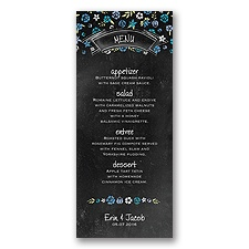 Floral Chalkboard - Cornflower - Menu Card