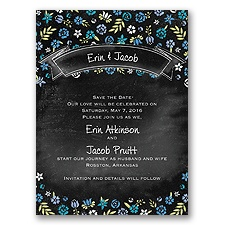 Floral Chalkboard - Cornflower - Save the Date