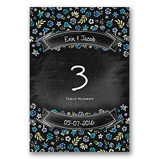 Floral Chalkboard - Cornflower- Table Number