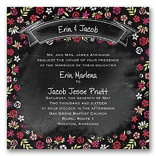 Floral Chalkboard - Poppy - Invitation