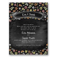 Floral Chalkboard - Tangerine - Save the Date