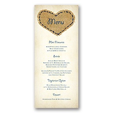 Burlap Heart - Menu Card
