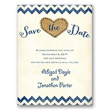 Burlap Heart - Save the Date