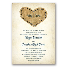 Burlap Heart - Peacock - Invitation