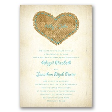 Burlap Heart - Pool - Invitation