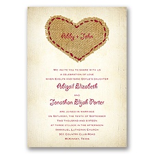 Burlap Heart - Apple - Invitation