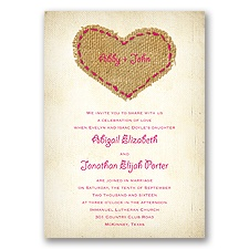 Burlap Heart - Watermelon - Invitation