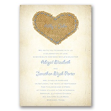 Burlap Heart - Bluebird - Invitation