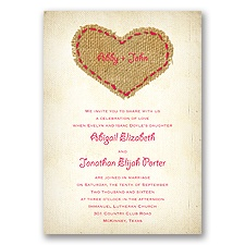 Burlap Heart - Poppy - Invitation