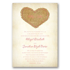 Burlap Heart - Coral Reef - Invitation