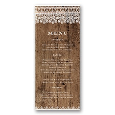 Barnwood & Lace - Menu Card