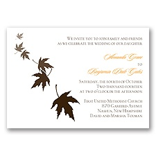 Falling Leaves - Chocolate - Invitation