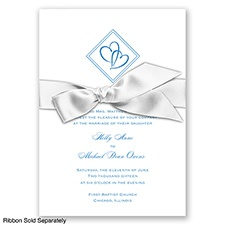 Diamond Hearts - Cornflower - Invitation