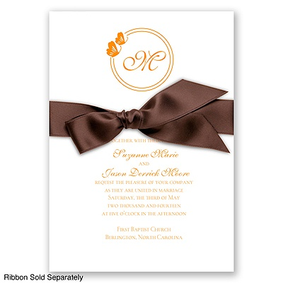 Circle Butterfly Monogram - Tangerine - Invitation