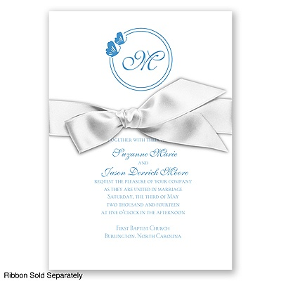 Circle Butterfly Monogram - Cornflower - Invitation