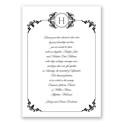 Stately Border - Black - Invitation