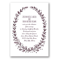 Pine Cone Wreath - Plum - Invitation
