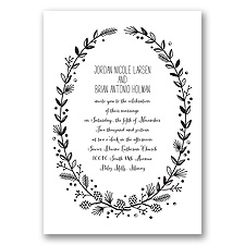 Pine Cone Wreath - Black - Invitation