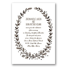 Pine Cone Wreath - Chocolate - Invitation