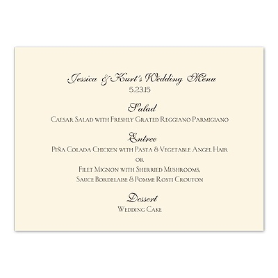 Ecru Menu Card Horizontal