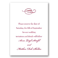 Classic Save the Date Card with Design - Bright White