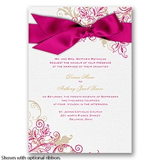 Flourish with Golden Shadow - Watermelon - Invitation