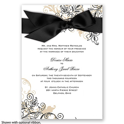 Flourish with Golden Shadow - Black - Invitation