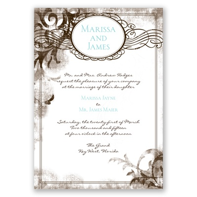 Vintage Monogram - Chocolate - Invitation