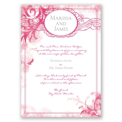 Vintage Monogram - Watermelon - Invitation