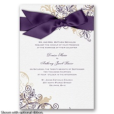 Flourish with Golden Shadow - Plum - Invitation